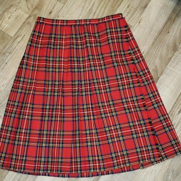 St. Michael Red Pleated Plaid/Tartan Skirt/Kilt
